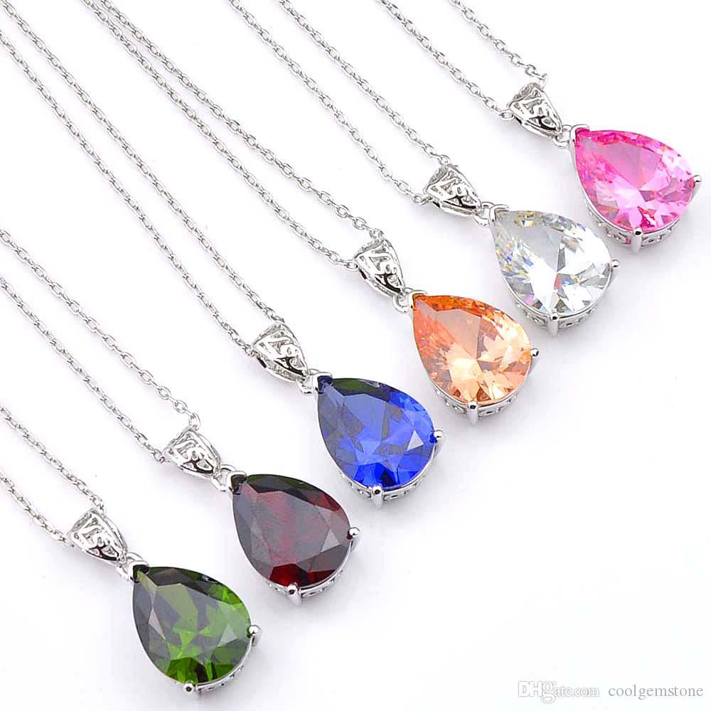 Luckyshine 6Pcs Narin Damla Morganit Peridot Gemstone 925 Gümüş Moda Düğün Kolye Ucu kolye İçin Kadınlar Ücretsiz Kargo