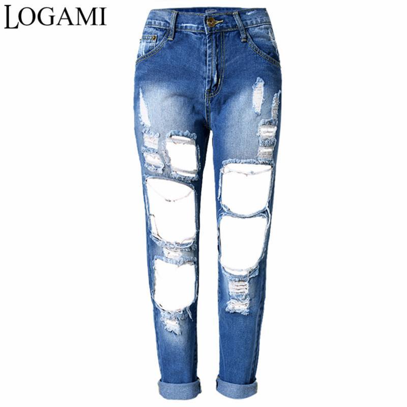 distribuidor mayorista cfc45 4daf9 Compre LOGAMI Pantalones Vaqueros Rotos Para Mujer Pantalones Rectos De  Cintura Alta Pantalones Vaqueros De Mezclilla Mujer 2018 A $63.38 Del ...