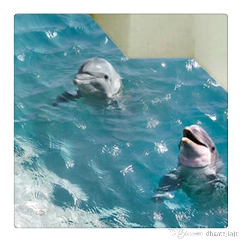 Горячие Продажи 3D Blue Sea Floor Sticker Пляж Стикер Стены Водонепроницаемый Съемные Настенные Наклейки для Украшения Дома
