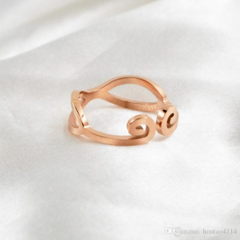 Anello in acciaio al titanio con oro rosa moda, gioielli in acciaio al titanio Anello stretto in acciaio da donna Anello in oro rosa da donna Stile semplice