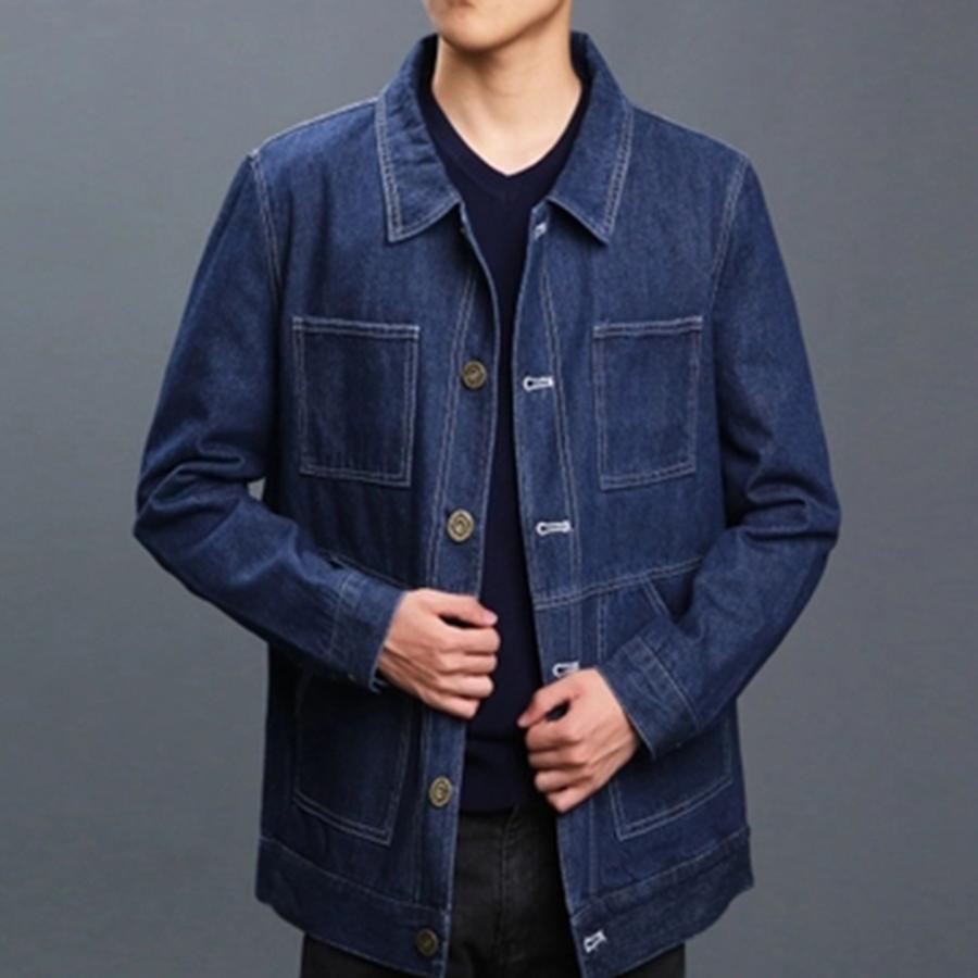Black Oversized Denim Jacket Men Vintage Smart Casual Jeans Jackets