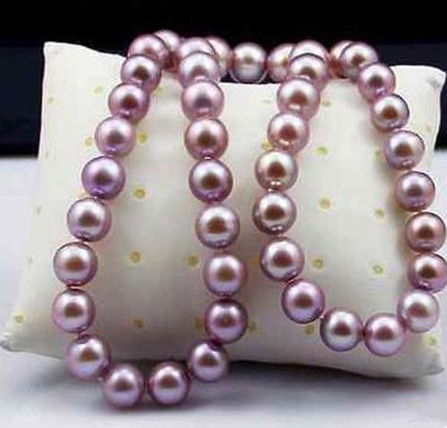 9-10мм природных Южное море фиолетовый жемчужное ожерелье 18 дюймов 925 серебряная застежка