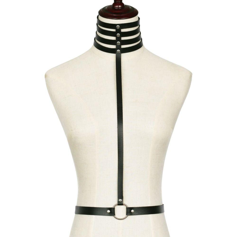 ПУ кожаный ремень тела женщины связывание гот ну вечеринку боди-бейс мода холтер фестиваль наряды панк ювелирные аксессуары