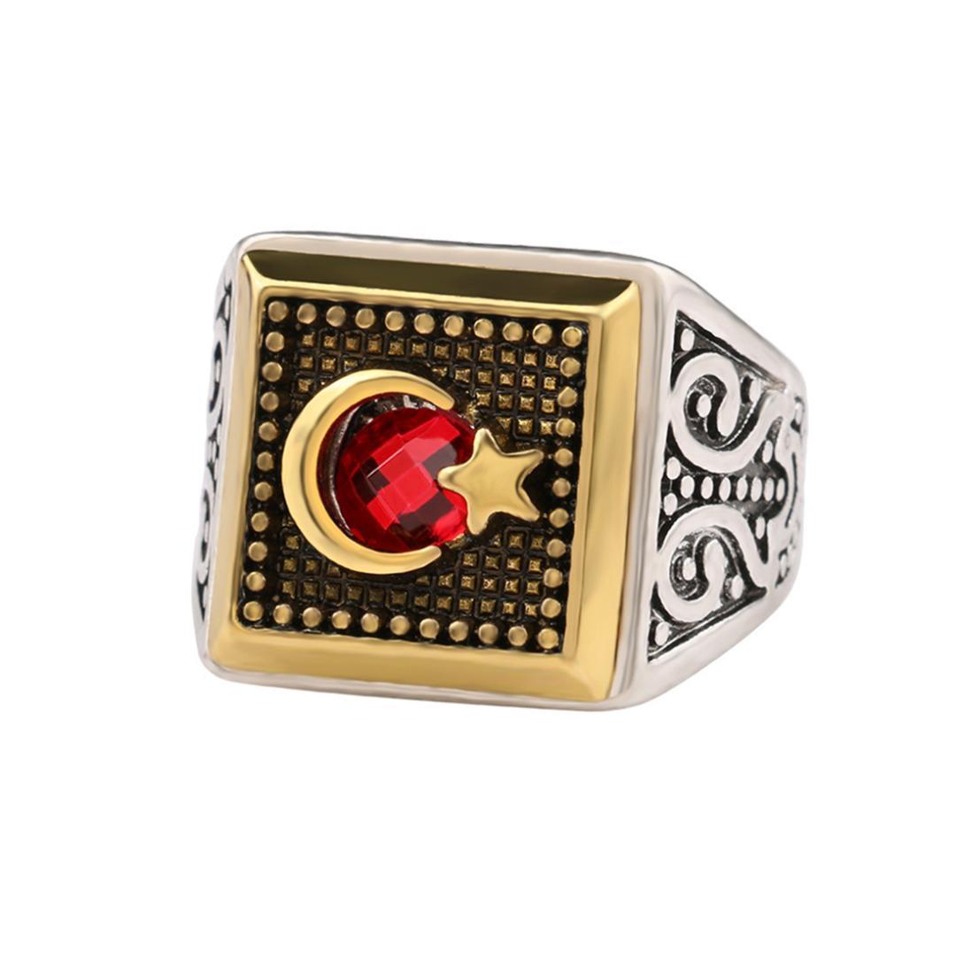 Grandes prata Vintage Red Stone muçulmanos Turquia Anéis para presente do dia Mulheres moda jóias dos Namorados