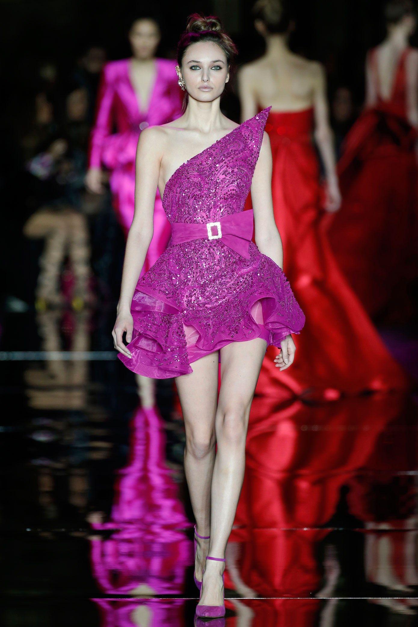 2018 Zuhair Murad Purple Cocktail Dresses With Beads Sequins Unique ...