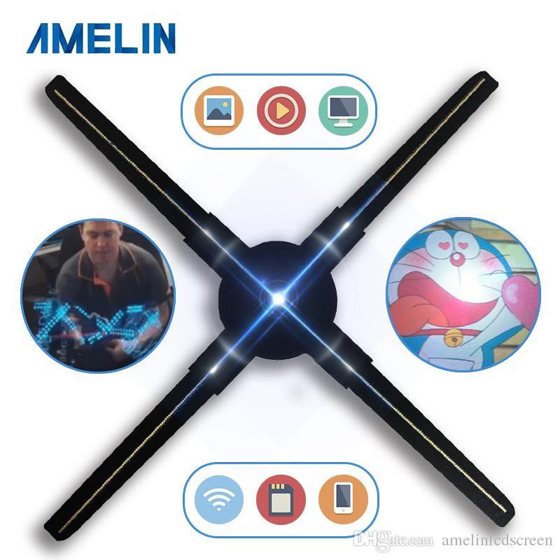 [Controllo APP versione Wifi] Display pubblicitario proiettore ologramma 3D VENTILATORE LED 3D per pubblicità con 50CM / 19,7 pollici