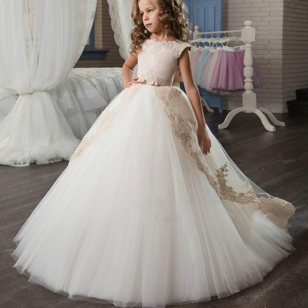 2018 New Flower Girls Dresses Handmade Flowers Lace Appliques Soft ...