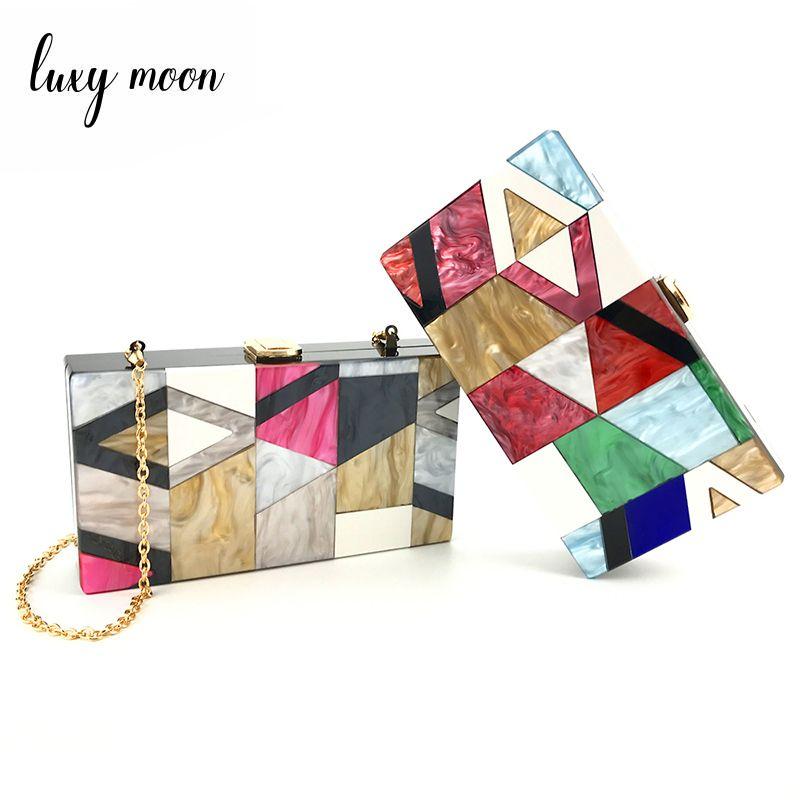 Luxy Moon Evening Purse Acrylic Clutch Box Bag for Women Red Handmade Designer Chain Women Shoulder handbag Hard Case ZD790 D18110106