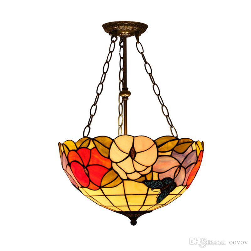 Oovov الرجعية تيفاني زهرة مكافحة الثريا 16 نوم دراسة غرفة مطعم قلادة ضوء مقهى مخزن الدرج شرفة شنقا مصباح