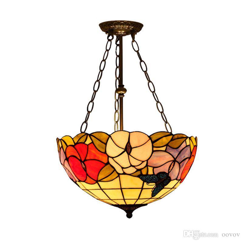 "Oovov الرجعية تيفاني زهرة مكافحة الثريا 16 ""نوم دراسة غرفة مطعم قلادة ضوء مقهى مخزن الدرج شرفة شنقا مصباح"