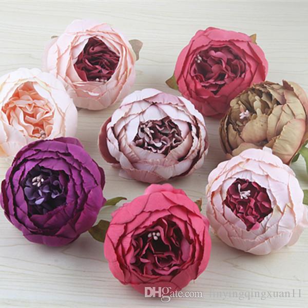 cabeza de la flor de seda de 10 cm de alta calidad cabezas de flor artificial del Peony DIY para la decoración de flores de la boda del partido en casa