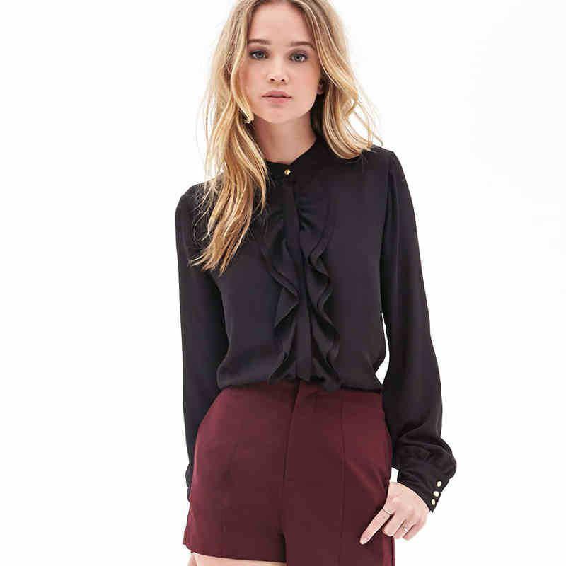 Streetwear Elegant Office 레이디 셔츠 미니멀리스트 Flounce Neck 레이스 커프 솔리드 블라우스