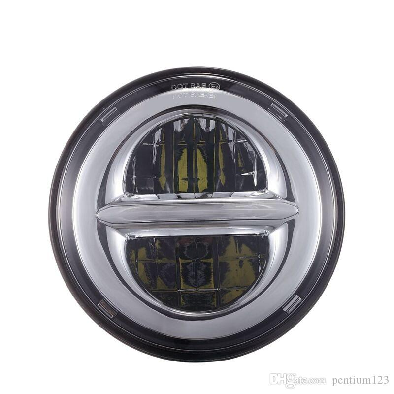 """For Lada Niva 7"""" LED DRL H4 Halo Headlights For VAZ 2101 7Inch LED Headlamps with Halo Ring Amber Turn Signal"""