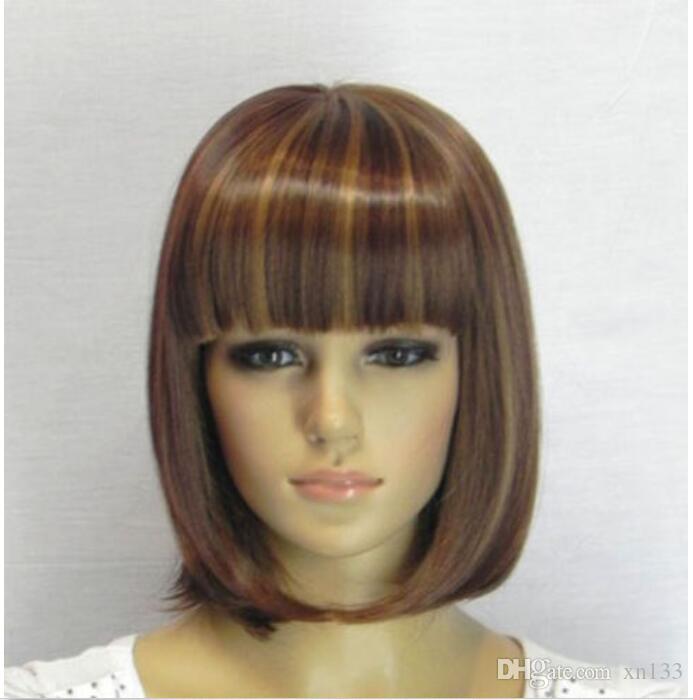 Heißer Verkauf Mode kurze braune blonde gerade Bangs Bob Frauen Haar Perücke Perücken + Cap