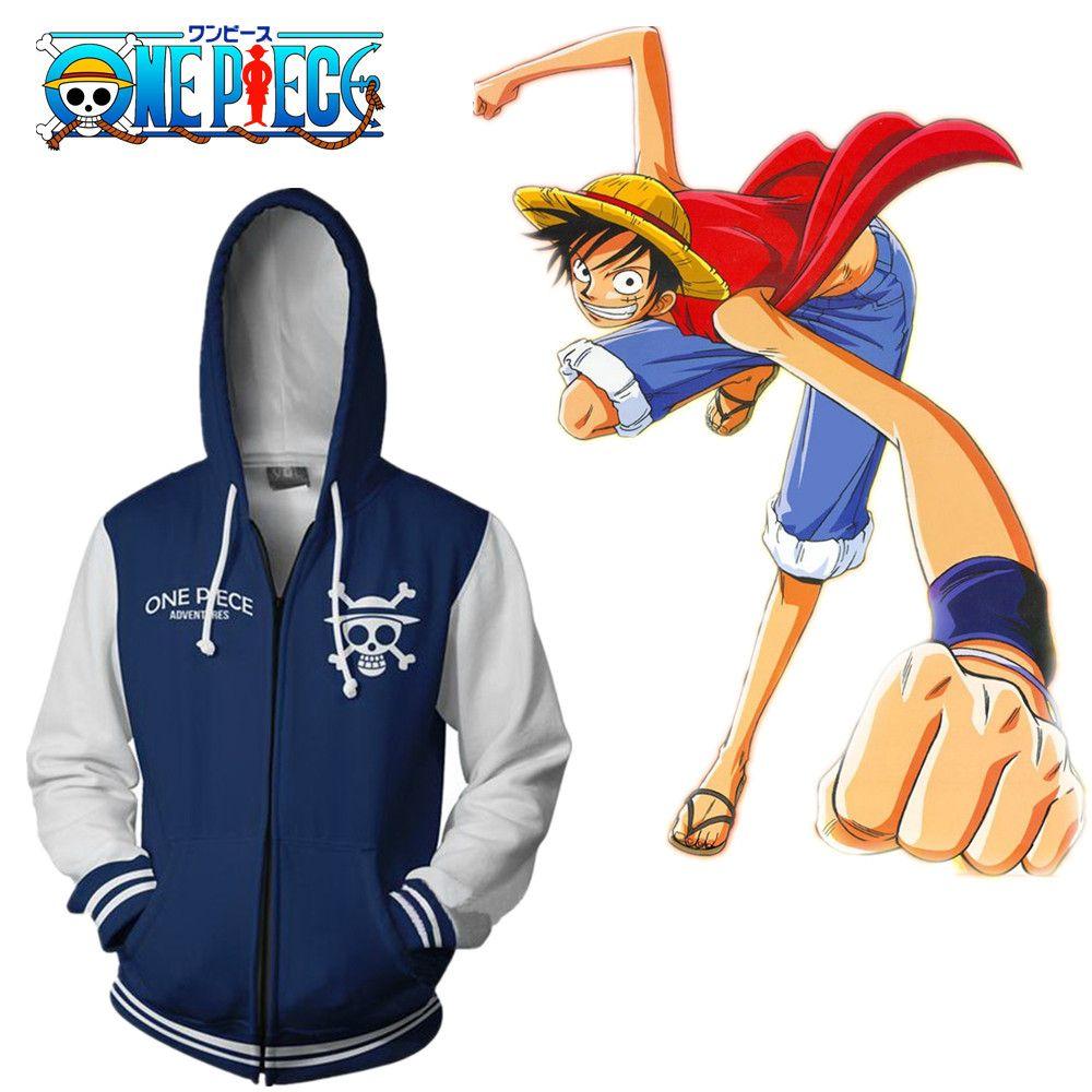 Tamaño asiático Japón Anime One Piece Strawhat Cosplay Traje 3D Casual azul Unisex manga larga Coat Zipper Jacket Hoodie
