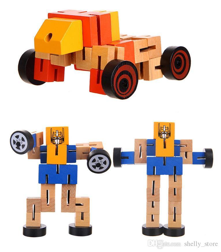 لعبة الذكاء خشبية تشوه روبوت السيارات الرجل متعددة النمذجة souptoys زراعة الأطفال المعرفية التنموية للأطفال هدية لعبة