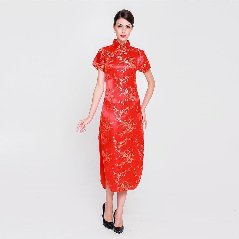 2019 Plus Size 6XL Elegant Lady Satin Qipao Vintage Women Mandarin Collar  Cheongsam Chinese Style RED Bride Wedding Dress Flower From Masue, $18.97 |  ...