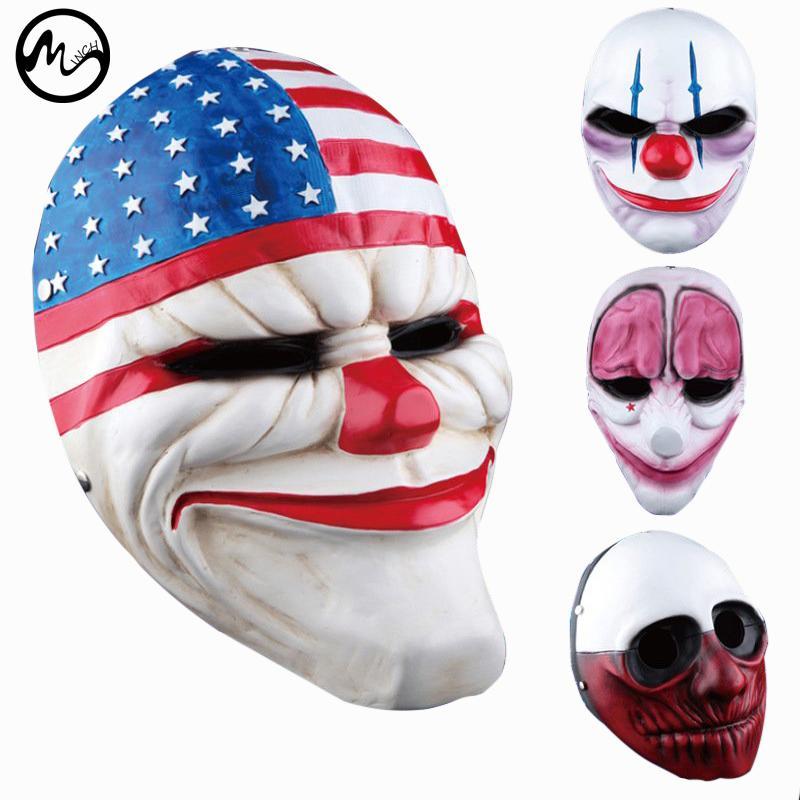 Masques de clown de minch pour Masquerade Party Masques de clowns effrayants Payday 2 Halloween Masque Horrible New Hot