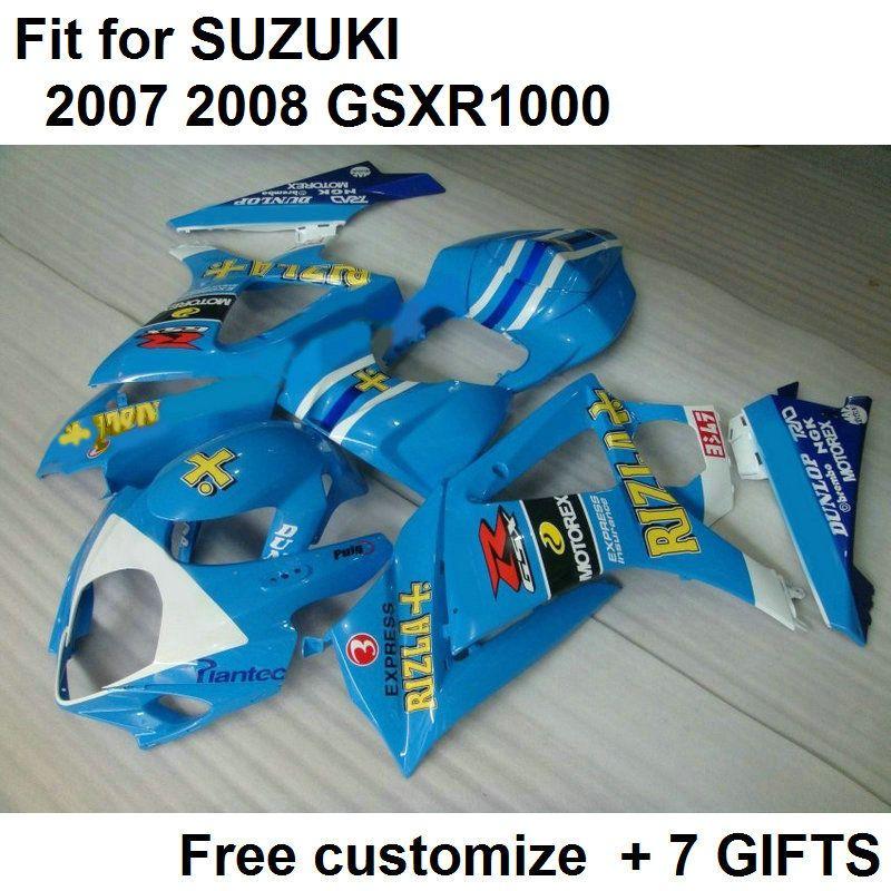 Kit carénage haut de gamme pour Suzuki GSXR1000 07 08 kit carénages bleu ciel GSXR1000 2007 2008 DF36