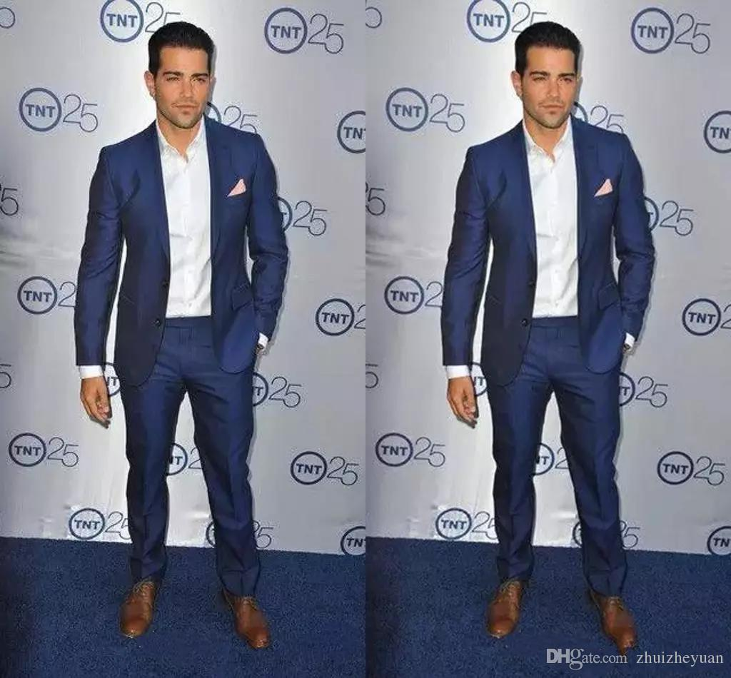 Cheap Royal Blue Slim Fit Tuxedo For Groom Exquisite Mens Party Suits Mens Formal Prom Suits (Jacket+Pants)