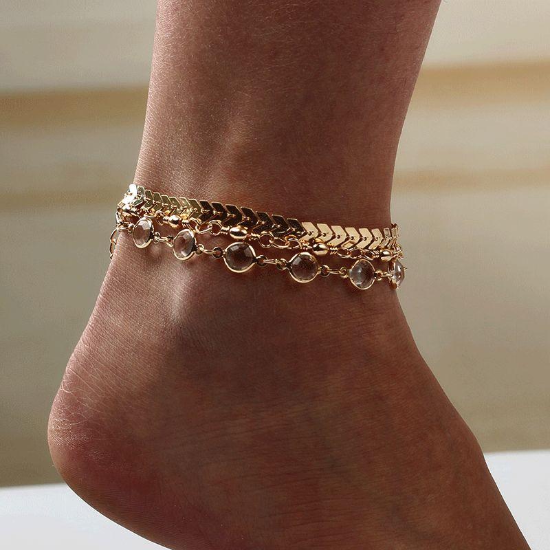 European and American popular sequins chain, summer fashion arrowhead three-piece set of foot ornaments