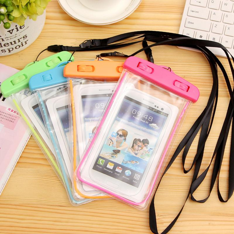 Waterproof fluorescent mobile phone bag is suitable for all kinds of mobile phones, outdoor rafting swimming waterproof debris bag,
