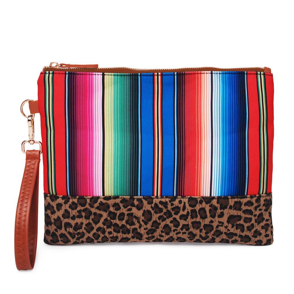 Small lot Brand fashion designer Wholesale Blanks Stripes Wristlet Bag Women Canvas Leopard Serape Clutch Stripes Diamond Pouch DOM1168
