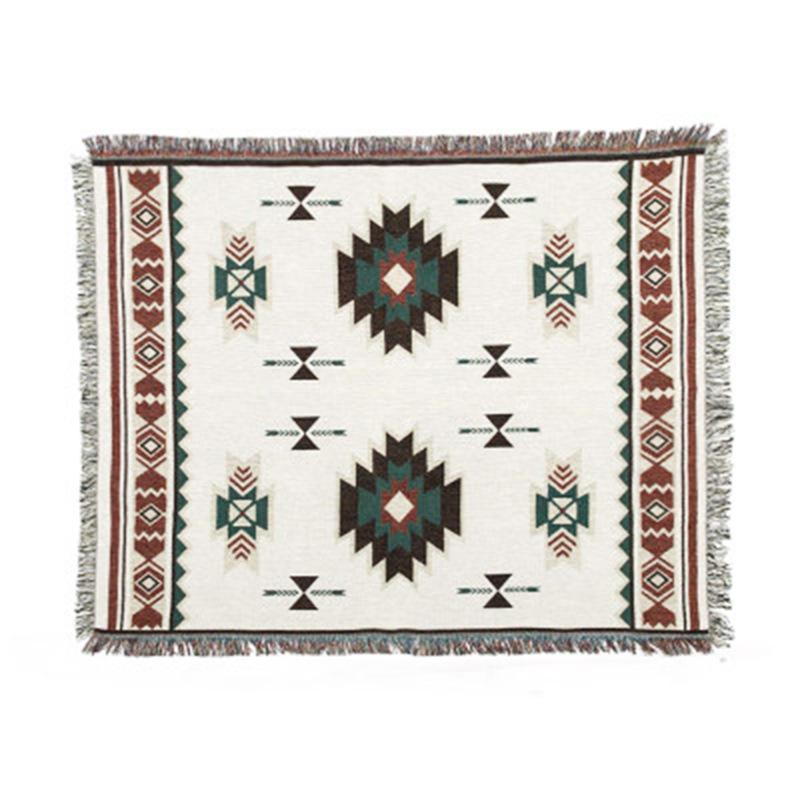 Las mantas de punto étnico chenilla Manta geométrico decorativo Sofá Lanza en el sofá / cama borla decoración de la pared de la tapicería de tela