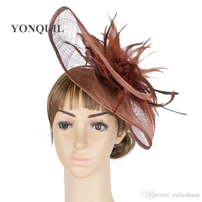 Yüksek kalitede sinamay düğün kilise fascinator kadın şapkaları düğün bayanlar tüm sezon MYQ032 için şapkaya düğün başlık gösterisi şapka takım