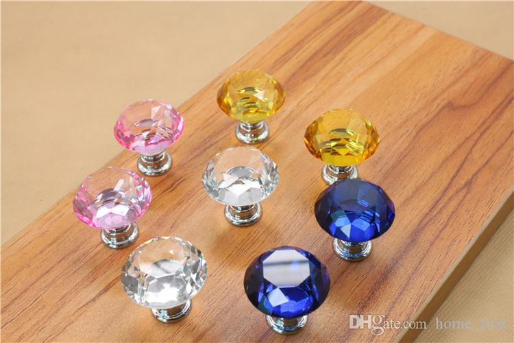 Modern Fashion Colorful 30mm Crystal Glass Diamond Furniture Handle Drawer Single Hole Circular Alloy Kitchen Cabinets Cupboard Door Pull