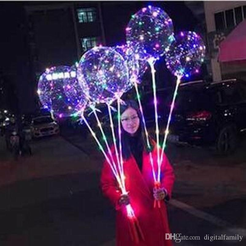 Bobo Ball LED Line With Stick Wave Ball 3M String Balloon Light Up For Christmas Halloween Wedding Birthday Home Wedding Party Decoration
