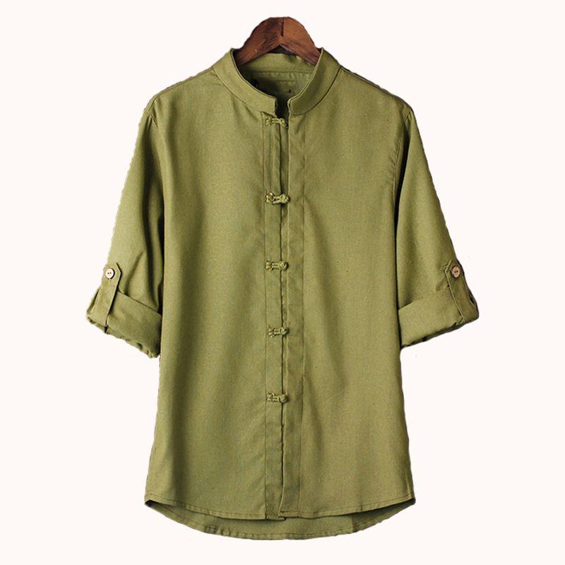 Neue chinesische Art-Leinenhemd-Mens-Bluse Neue große Yards 7 Punkt-Hülsen-Baumwollhemd M-5xl berühmte Marken-Mann-Hemden en gros