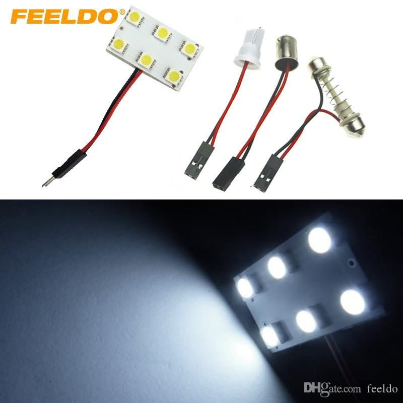 FEELDO 20set blanc 6SMD 5050 3-Chips LED Light Panel voiture avec T10 / BA9S / Festoon adaptateurs Dôme lampe Ampoule # 1516