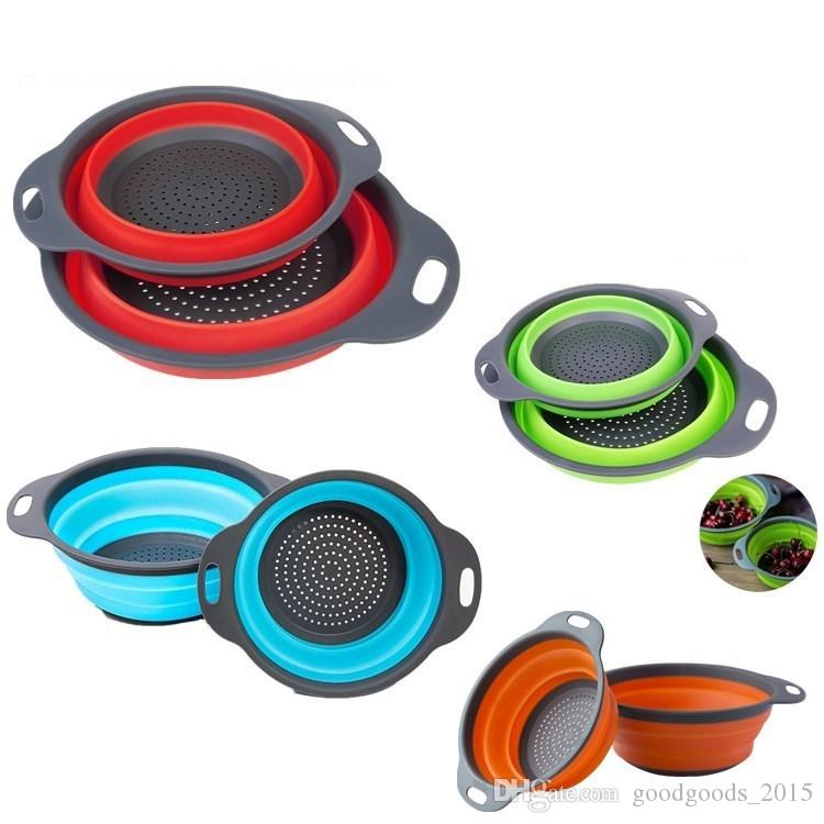Folding Strainers Kitchen Collapsible Silicone Colander Fruit Vegetable Strainer Silicone Drainer kitchen accessories c736