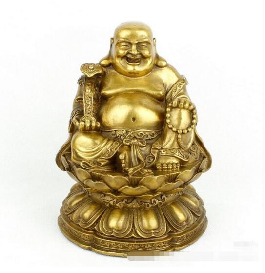 Maitreya sonriendo Buda loto salón latón adornos