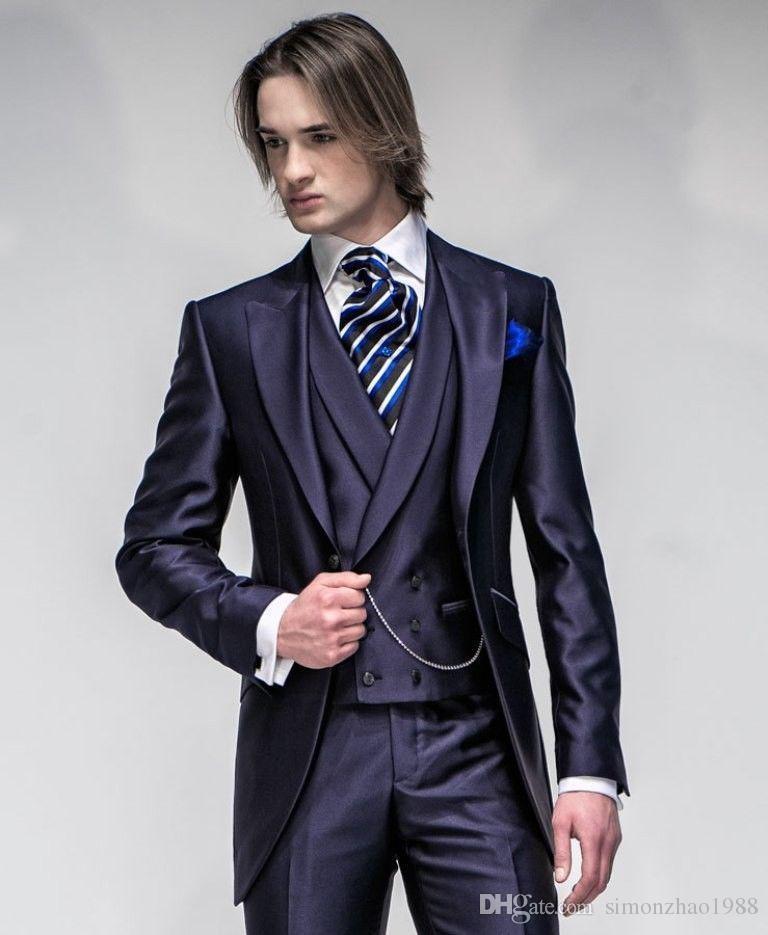 2018 Nouvelle Italienne Tailcoat Conception Dîner De Bal Bleu Marine Hommes Costume Slim Fit Costumes De Mariage Pour Hommes Marié Smokings Mariée (veste + Pantalon + gilet)
