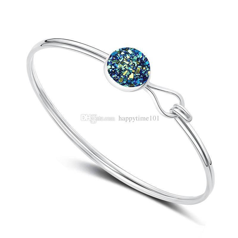Fashion Round Drusy Druzy Bracelet Bangle 5 Colors Silver Gold Plated Faux Gemstone Bracelet Women Lady Jewelry