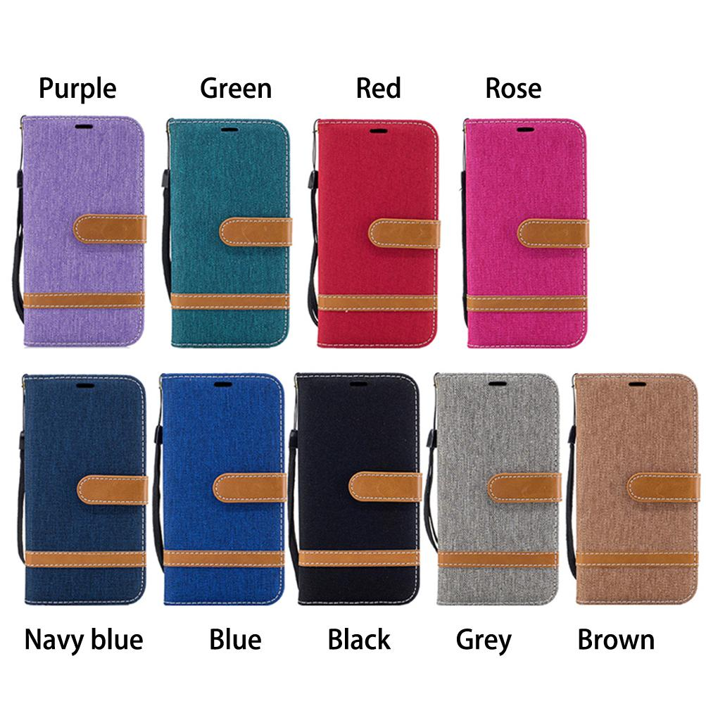 Mobile Phone Flip Wallet Case TPU Back Cases Cowboy Cloth Cover with Card Pocket Hand Strap 110 Models for Option