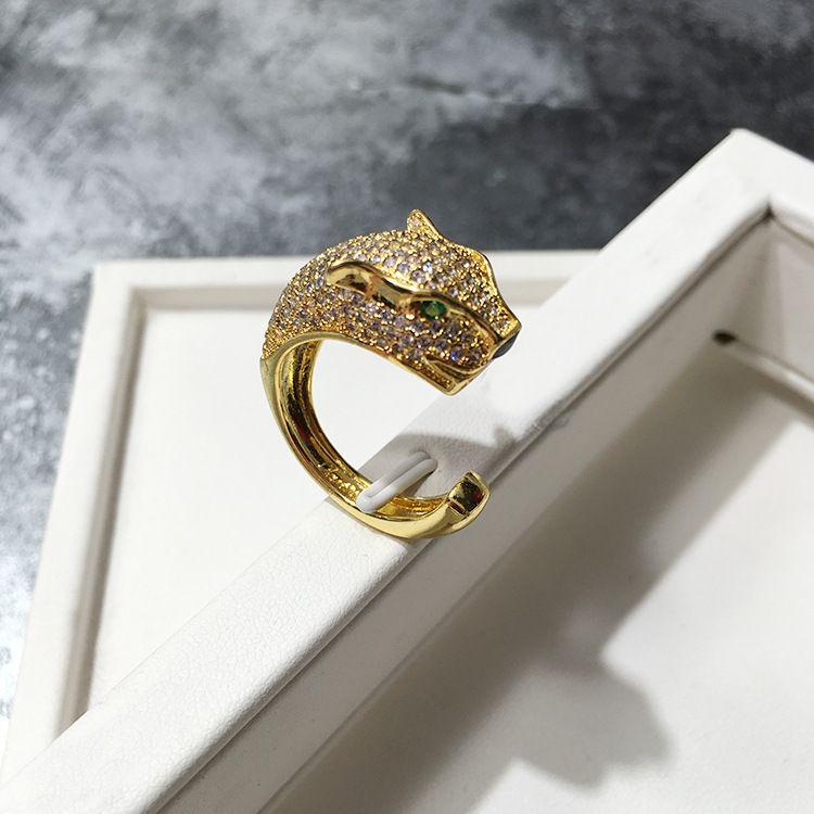 ليوبارد الأخضر 925 فضة خواتم للنساء قابل للتعديل حجم الطوق الأزياء الاسترليني والفضة والمجوهرات هدية عيد الميلاد