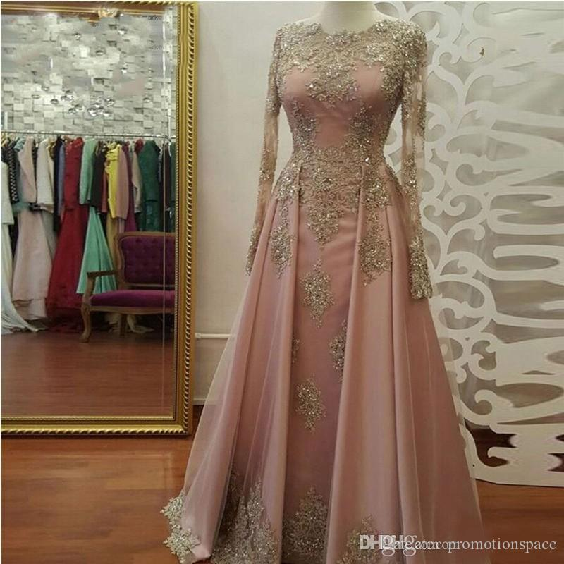 2018 blush cor-de-rosa ouro manga comprida vestidos de noite para mulheres vestir appliques de renda cristal abiye dubai craftan muçulmano vestidos de festa de baile