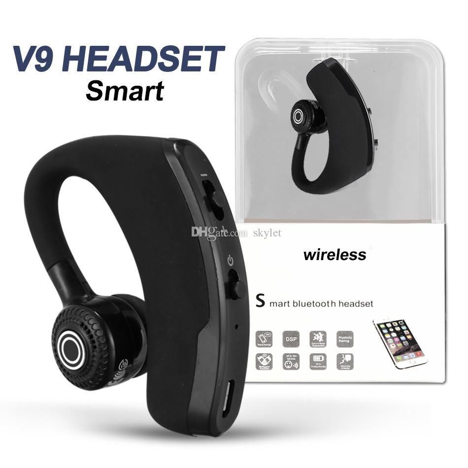 V9 Bluetooth Earbuds Handfree Wireless Earphone BT4.1 CSR Noise Control Business Wireless Bluetooth Headset with Mic for Smartphone with Box