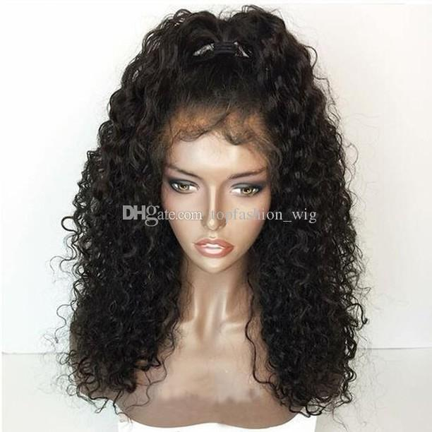 Kinky Curly Brazilian Human Hair Silk Top Wig Silk Top Lace Front Wig Full Lace Wig With Baby Hair For Black Women