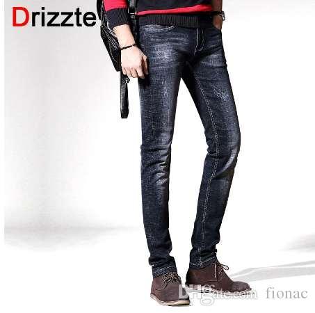 Drizzte Нового стиль Мода черный серый Slim Fit джинсы для мужчин повседневных джинсов брюк мужчину брюк