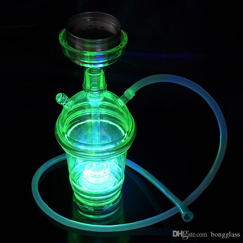 많은 색상 LED 실리콘 봉 유리 물 담뱃대 유리 파이프 물 담뱃대 시샤 살짝 적셔 액세서리 유리 물 기억 만 흡연