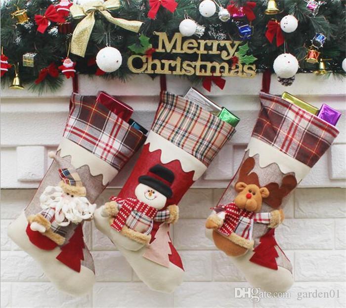 20pcs calza di Natale mix tela di cotone cotone regalo borsa calza 3 stili calze di decorazione albero di Natale G283