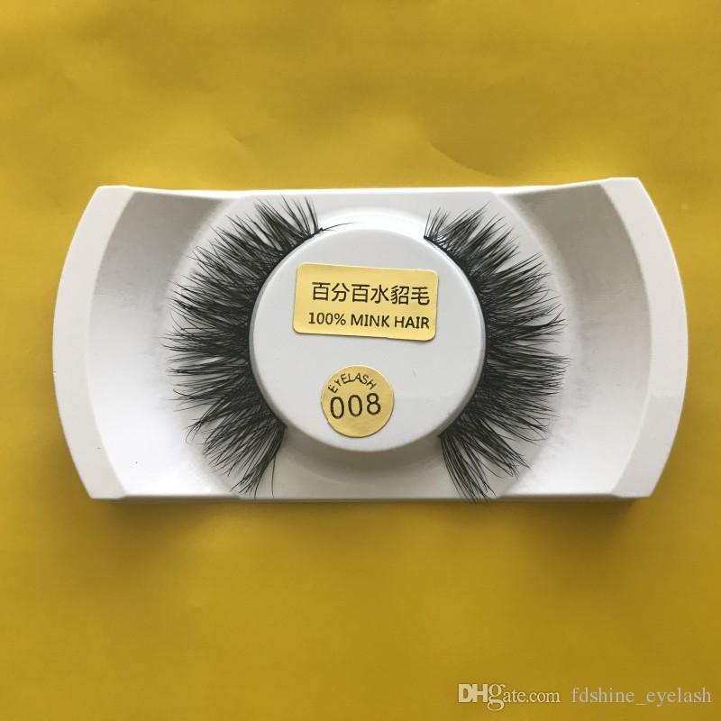 nueva llegada 15 estilos 3D visón pestañas falsas maquillaje 100% pelo de visón real gruesa súper cómoda extensión de pestañas