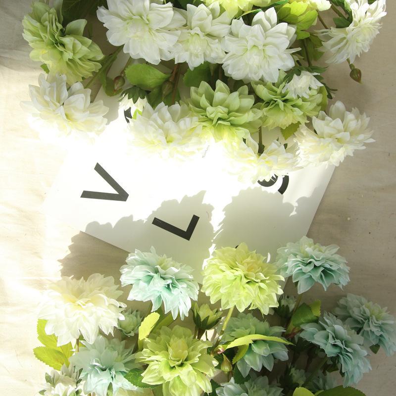 6pcs/lot Silk flower wedding bouquet roses dahlias Artificial flowers fall vivid fake leaf wedding flower bridal bouquets Home