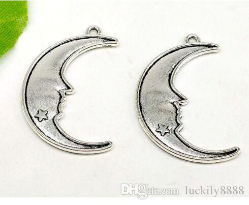 Free Shipping 100pcs/lot Ancient Silver Plated Alloy Star Moon Charms Pendants for Jewelry Accessories Making Findings 32x20mm