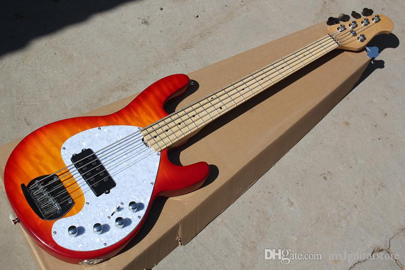 Beyaz İnci Pickguard ile 5 Strings Elektrik Bas, Alev Maple Kaplama, Krom Donanım, istek olarak özelleştirilmiş teklif