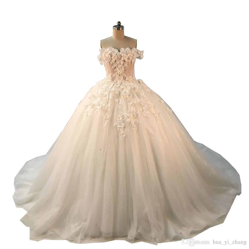 2018 Бальное платье Свадебные платья с плечевых ремней Милая с 3D ручной работы цветы кружева аппликация бдительницы часовня поезда свадебные платья